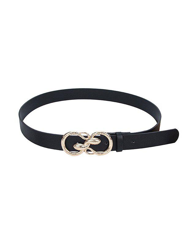 Snake Buckle PU Leather Waist Belt - BLACK