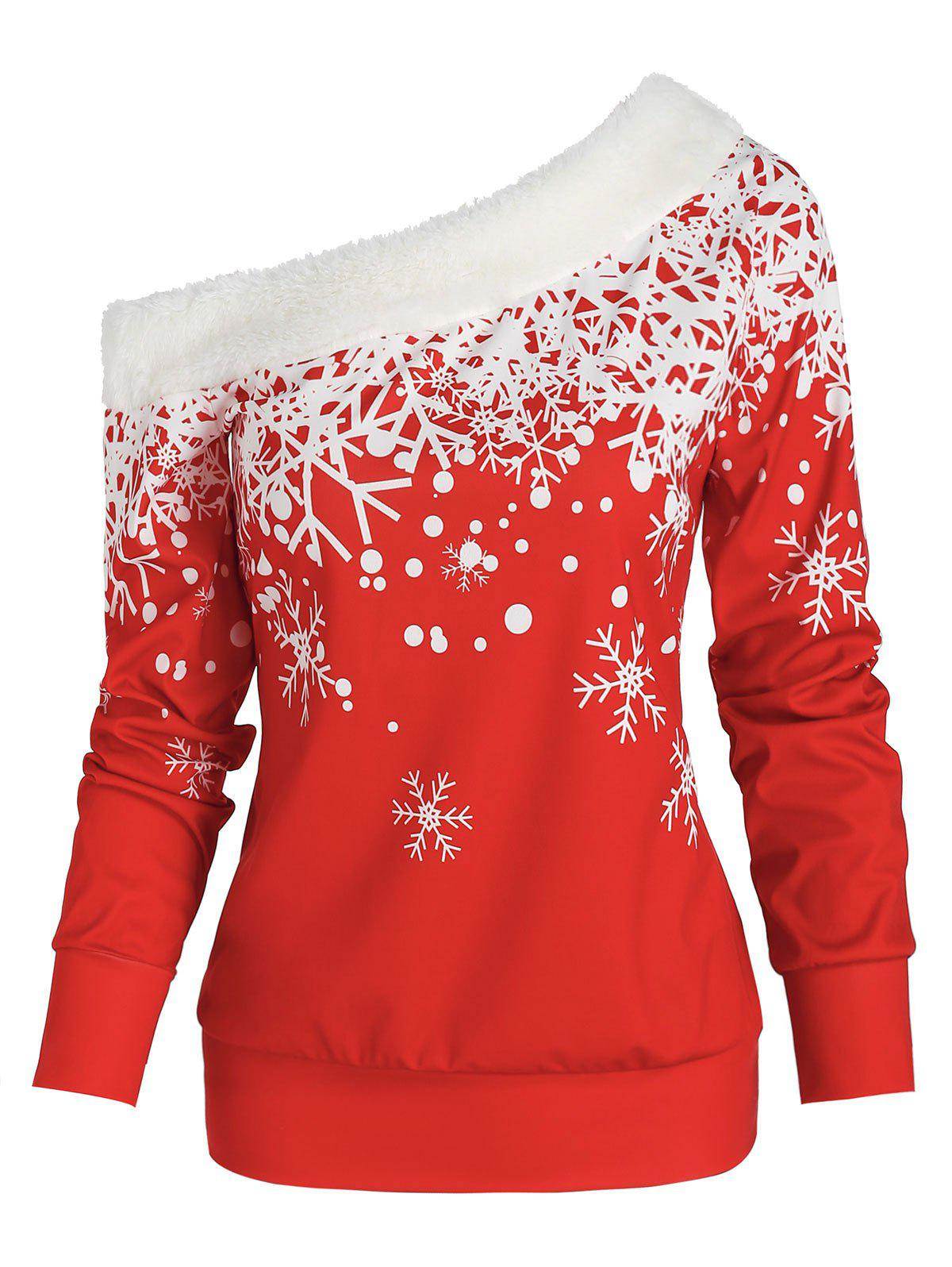 Christmas Skew Neck Snowflake Print Top - RED XL