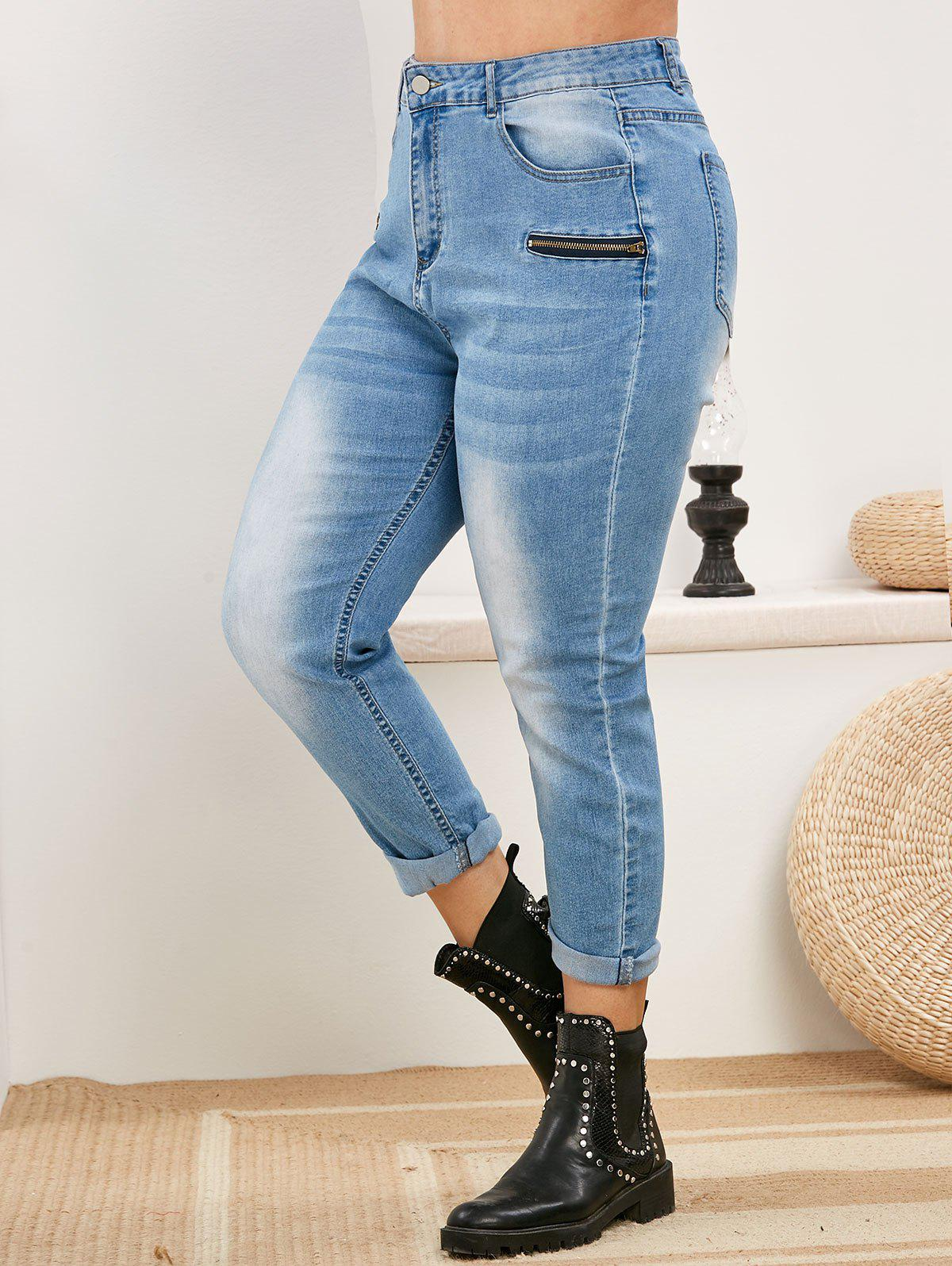 Plus Size High Rise Faded Skinny Jeans - LIGHT BLUE 5X