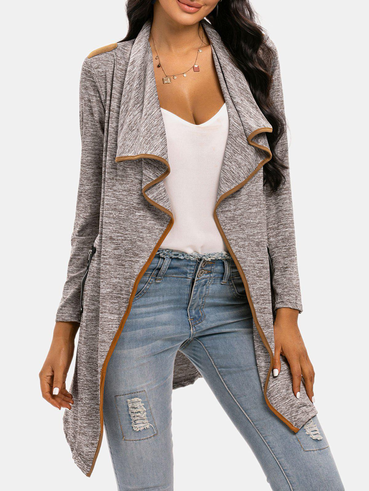 Draped Space Dye Binding Waterfall Cardigan - LIGHT COFFEE L