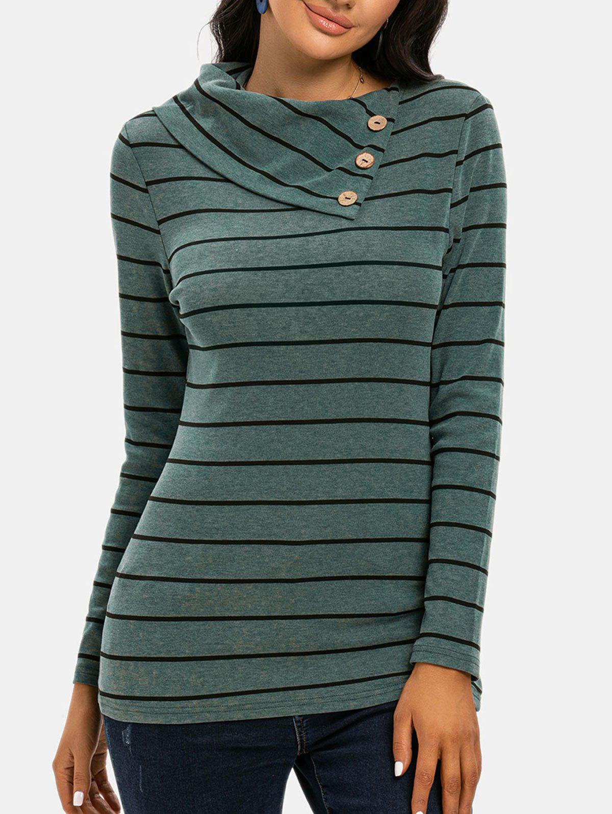 DressLily / Striped Print Mock Button T-shirt