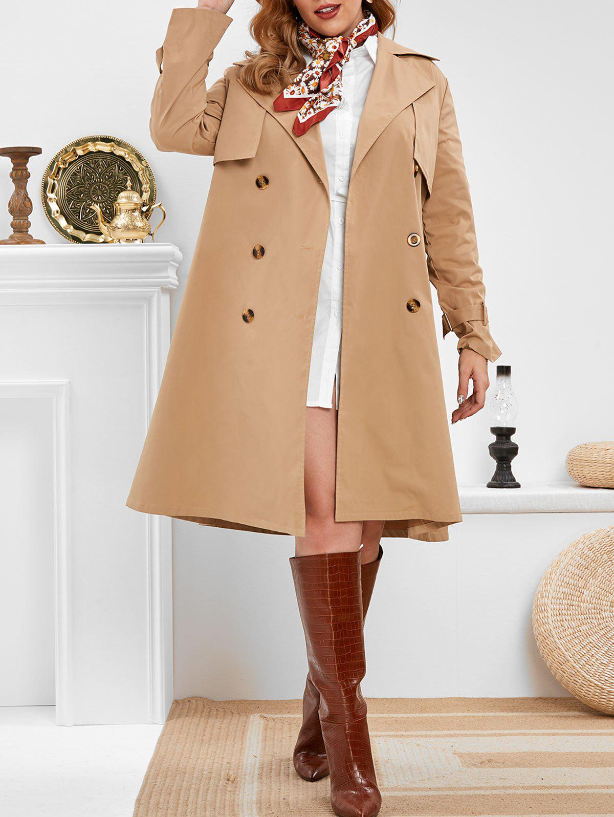 Plus Size Belted Double Breasted Trench Coat - CAMEL BROWN 5X