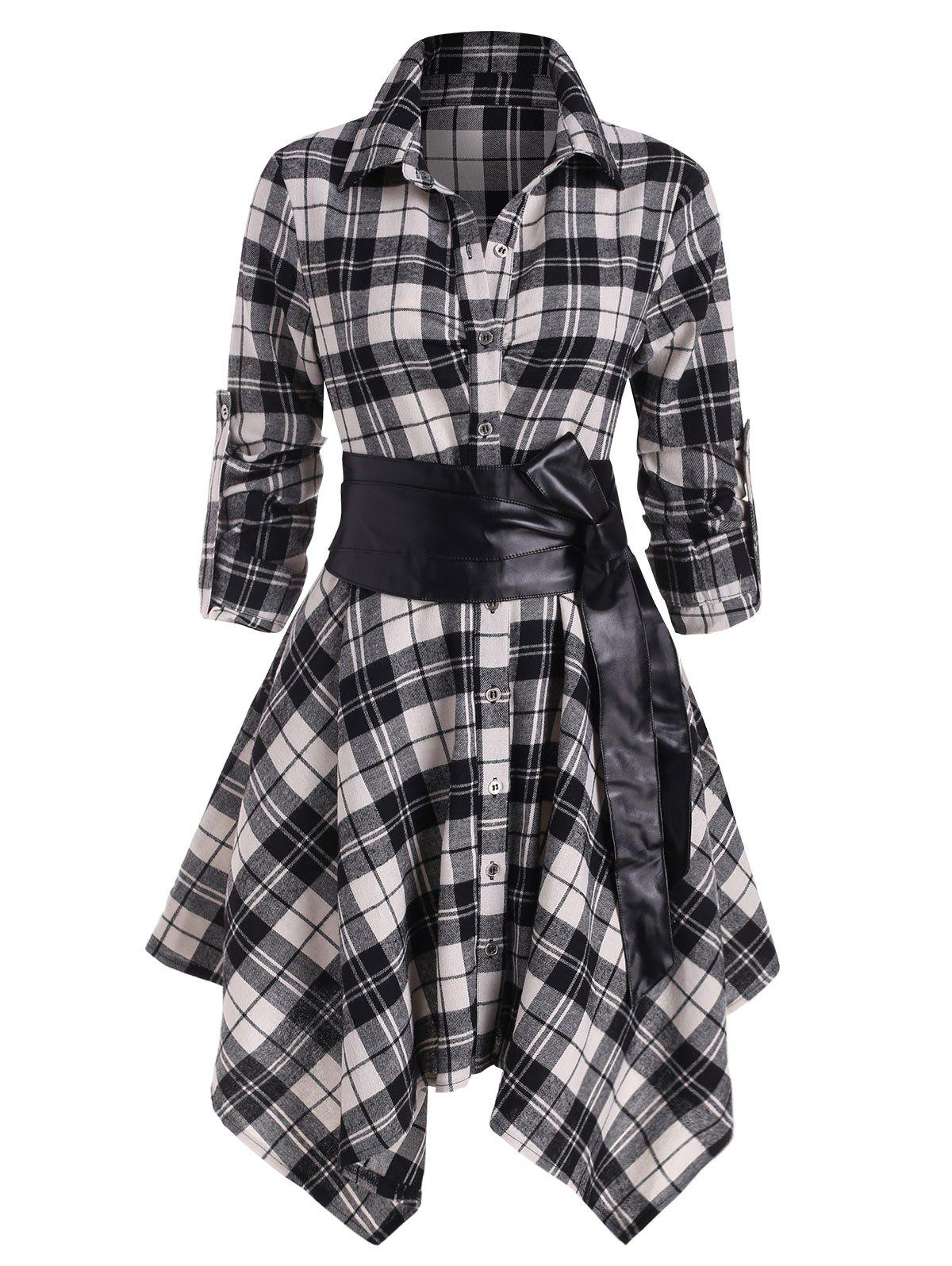 Plaid Belted Roll Up Sleeve Handkerchief Dress - WHITE 2XL