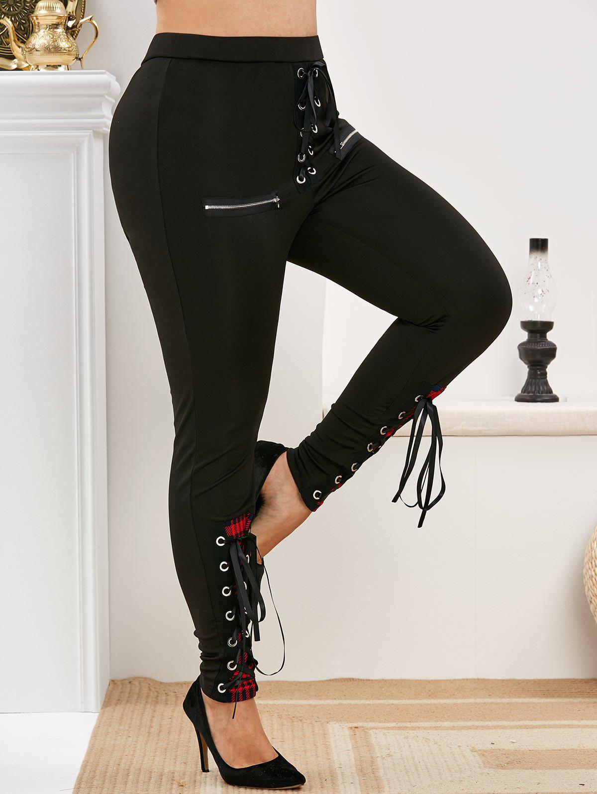 Plus Size Plaid Lace Up Zippered Pants - BLACK 5X