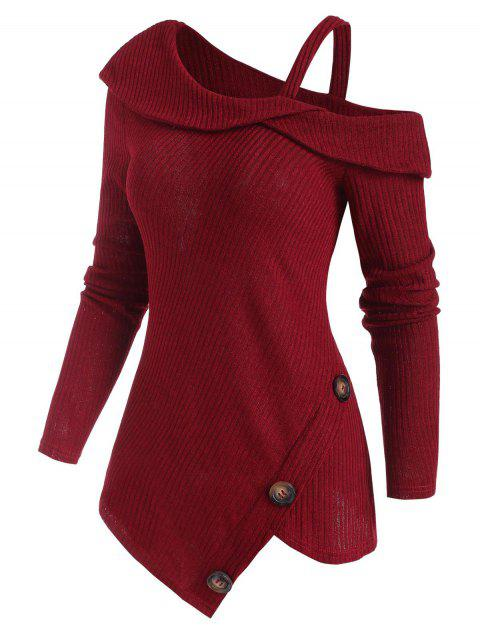 Ribbed Buttoned Cold Shoulder Asymmetrical Knitwear