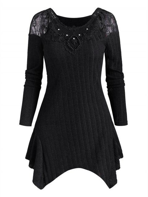 Beaded Rhinestone Lace Panel Ribbed Knitwear