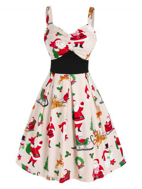 Christmas Santa Claus Print Ruched Fit and Flare Dress