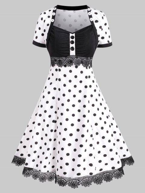 Buttoned Polka Dot Lace Trim Vintage Dress