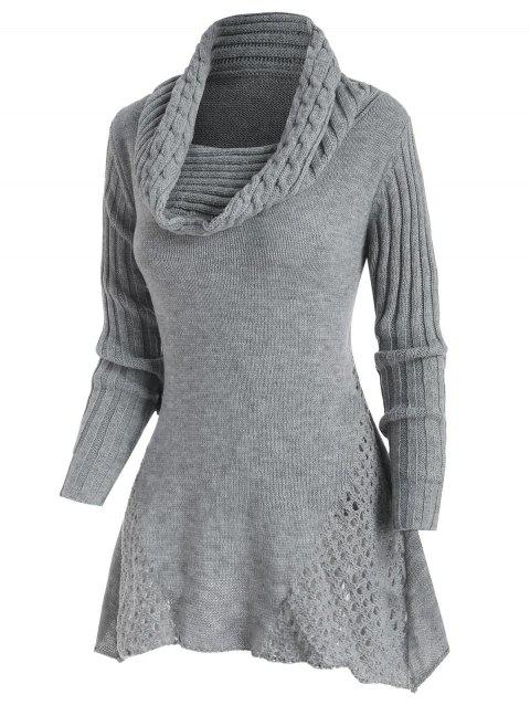 Cowl Neck Mock Button Openwork Sweater