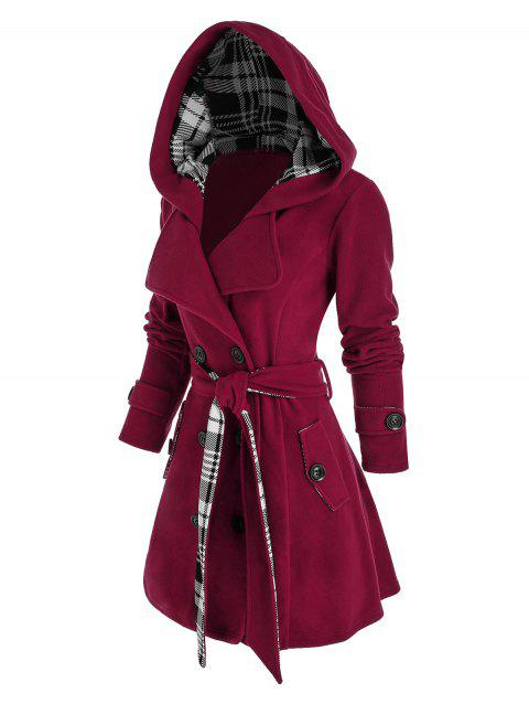 Plus Size Hooded Plaid Double Breasted Coat