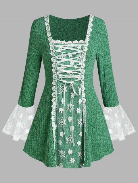 Plus Size Lace-up Floral Applique Snowflake Bell Sleeve Sweater