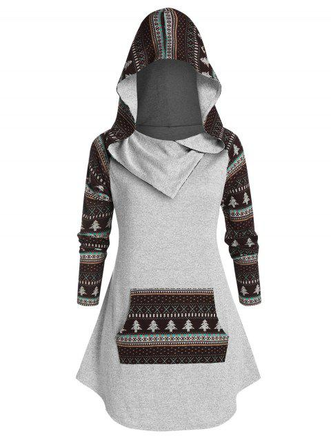 Plus Size Ethnic Print Knitted Pocket Hoodie