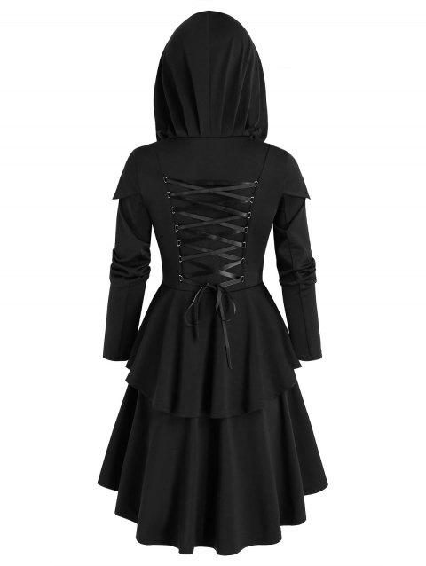 Hooded Lace-up High Low Skirted Coat