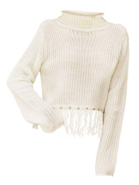 Fringed Studded Chunky Knit Turtleneck Sweater