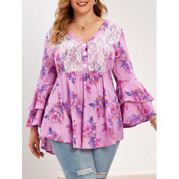 Plus Size Flower Printed Lace Insert Bell Sleeve Blouse