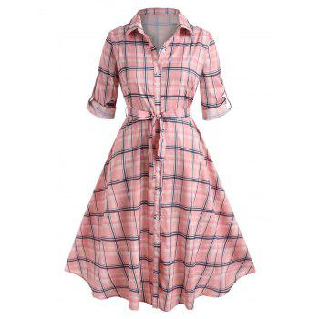 Plus Size Roll Up Sleeve Plaid Shirt Dress