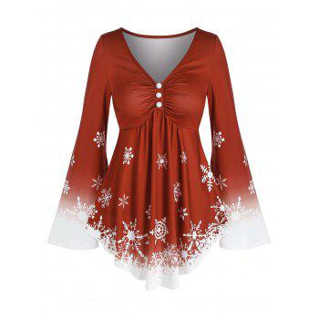 Snowflake Print Ombre Bell Sleeve T Shirt
