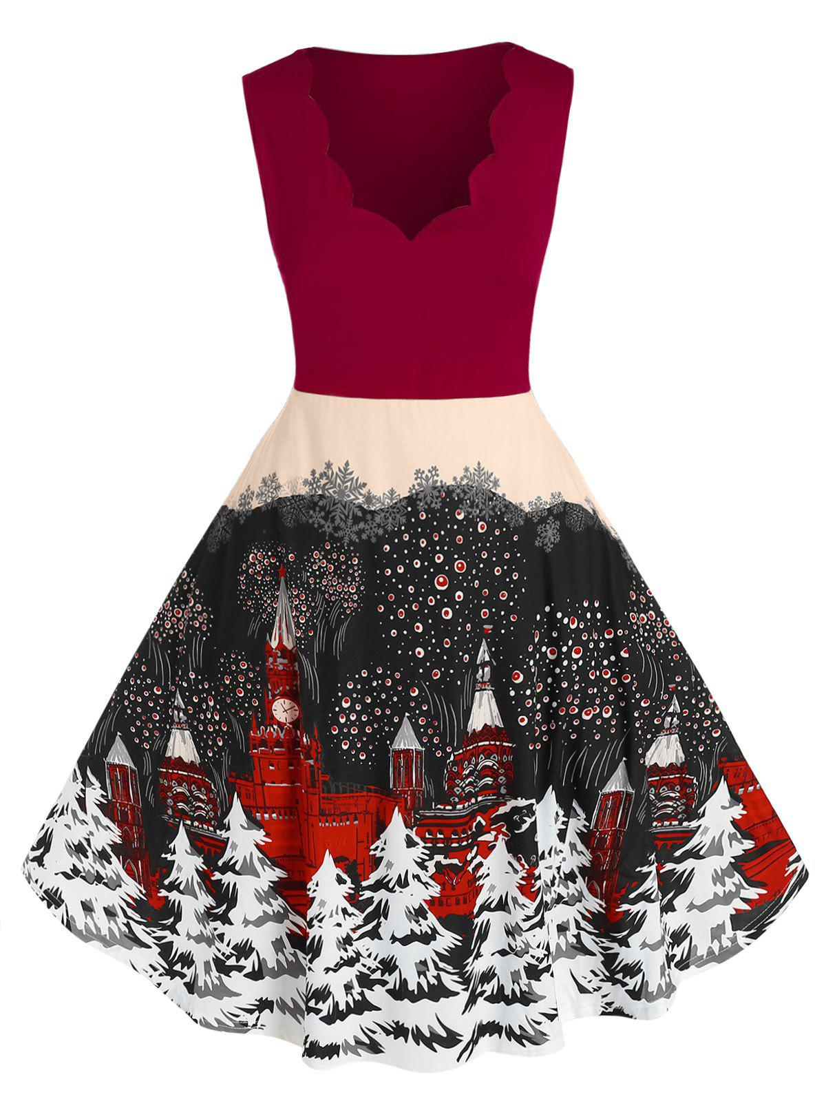 Plus Size Christmas Tree Print Scalloped Dress - LAVA RED 1X