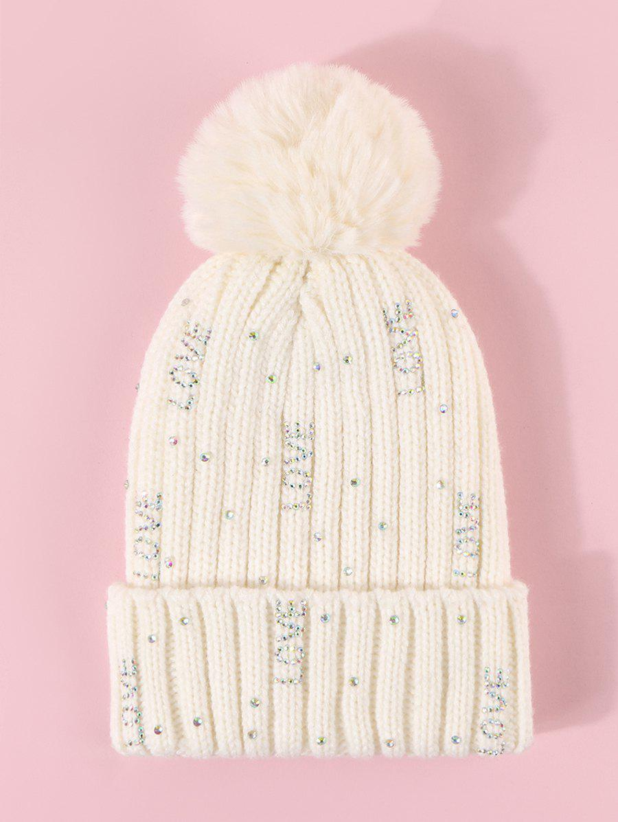 Rhinestone Letter Plush Knitted Bubble Hat - MILK WHITE