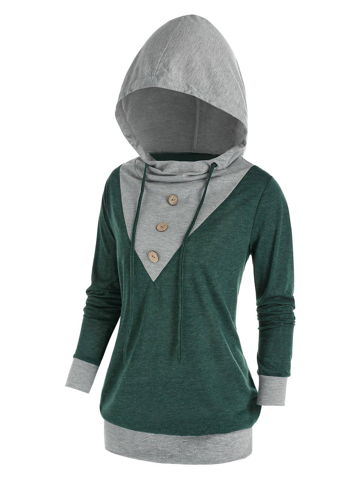 Plus Size Buttoned Drawstring Two Tone Hoodie - DARK TURQUOISE 4X