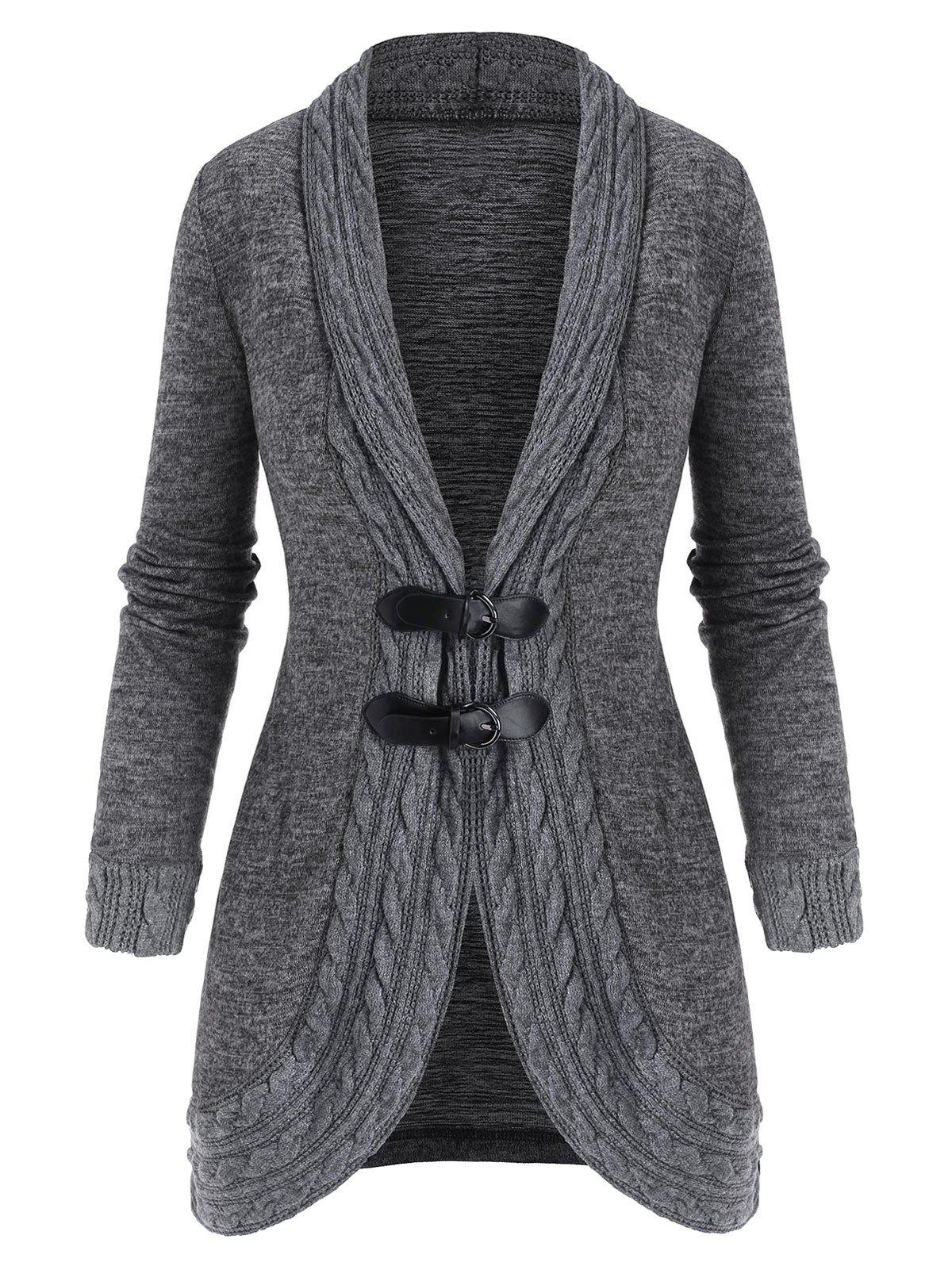 Shawl Collar Buckled Cable Knit Heathered Cardigan - LIGHT GRAY L