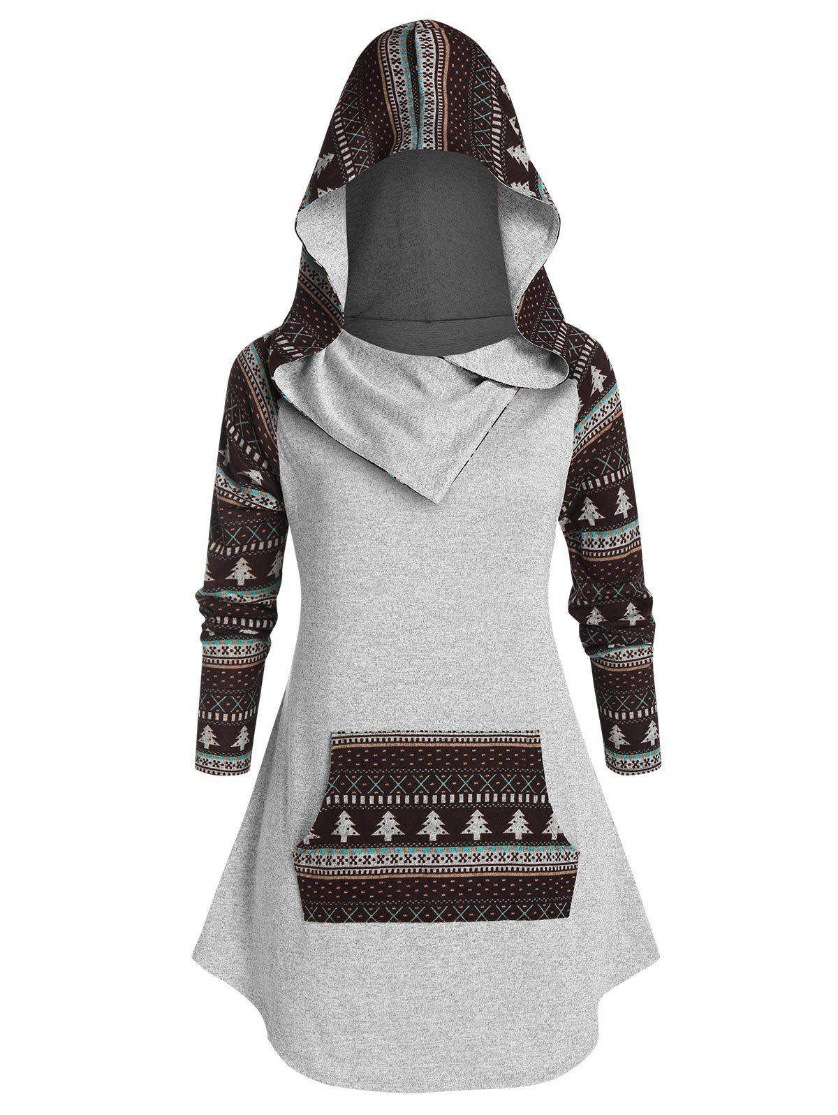 Plus Size Ethnic Print Knitted Pocket Hoodie - GRAY CLOUD 4X
