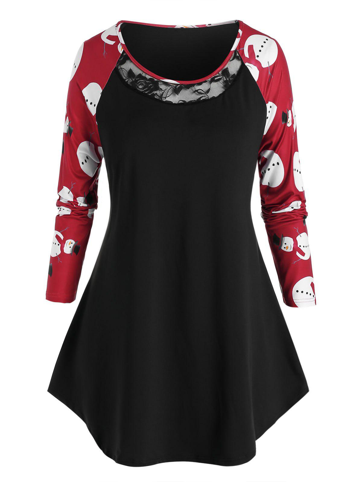 Plus Size Christmas Snowman Raglan Sleeve Tunic Tee - BLACK 1X