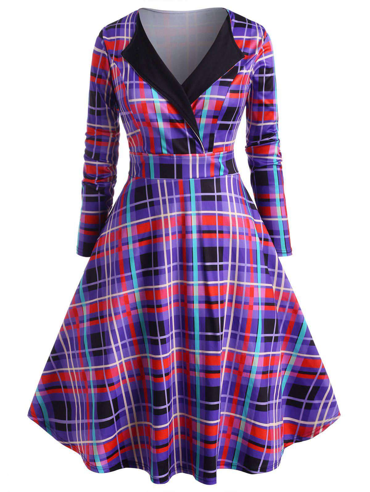 Plaid Long Sleeve Surplice Plus Size Dress - PURPLE 4X