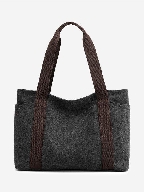 Colorblock Leisure Canvas Tote Bag - BLACK