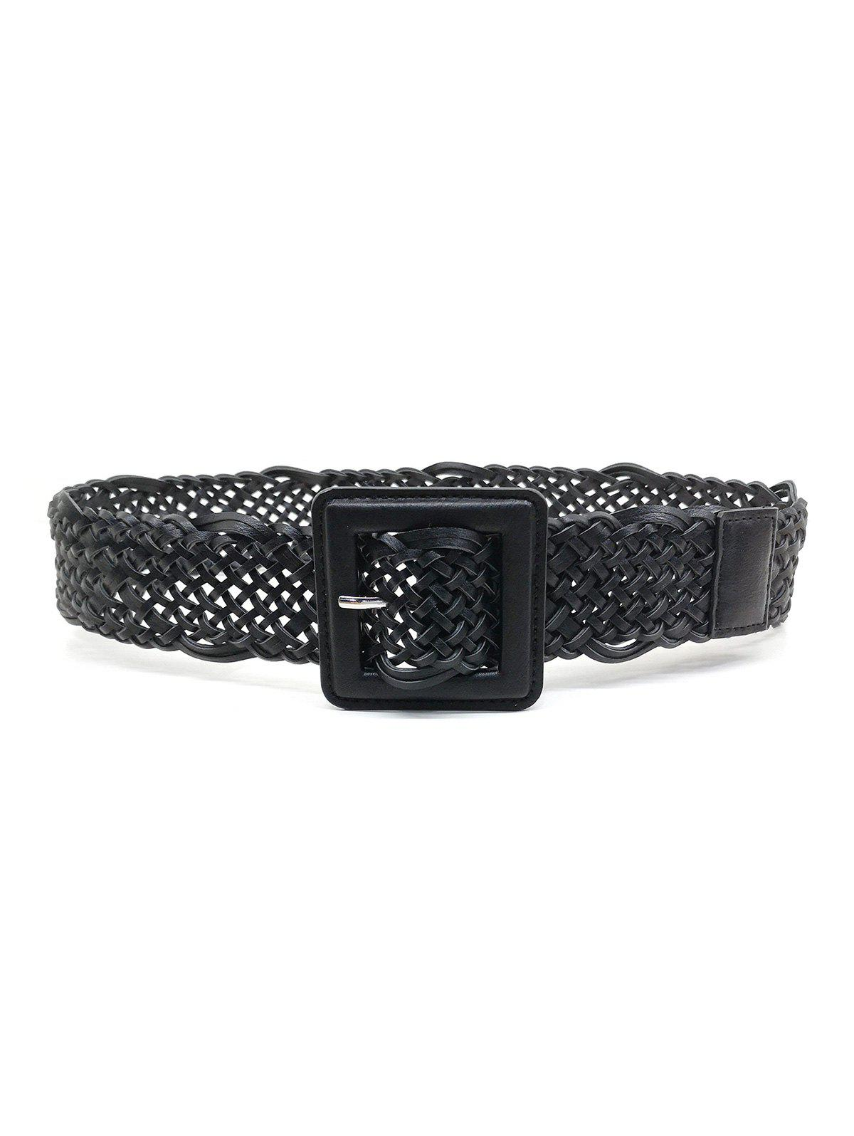 Braided Hollow Out Square Pin Buckle Belt - BLACK