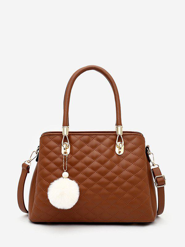 Pom Pom Pendant Quilted Handbag - BROWN