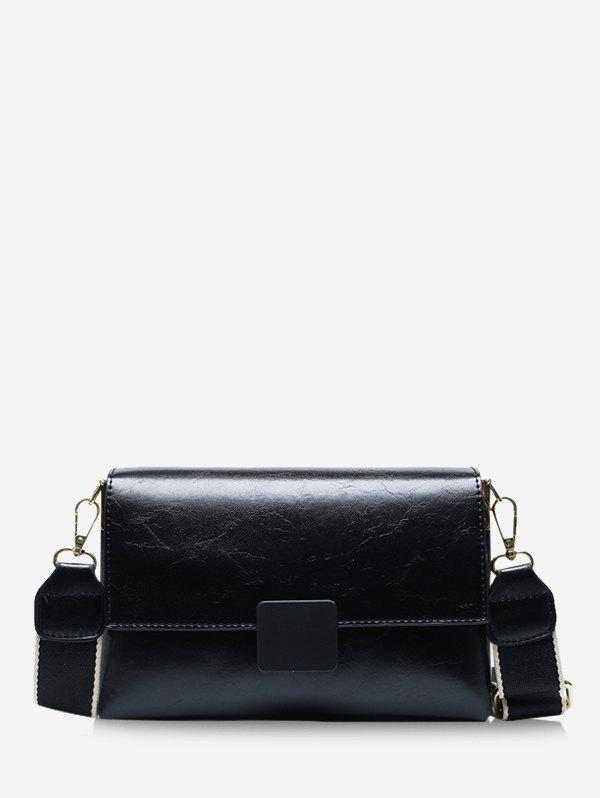 Rectangle Wide Strap Cover Crossbody Bag - BLACK