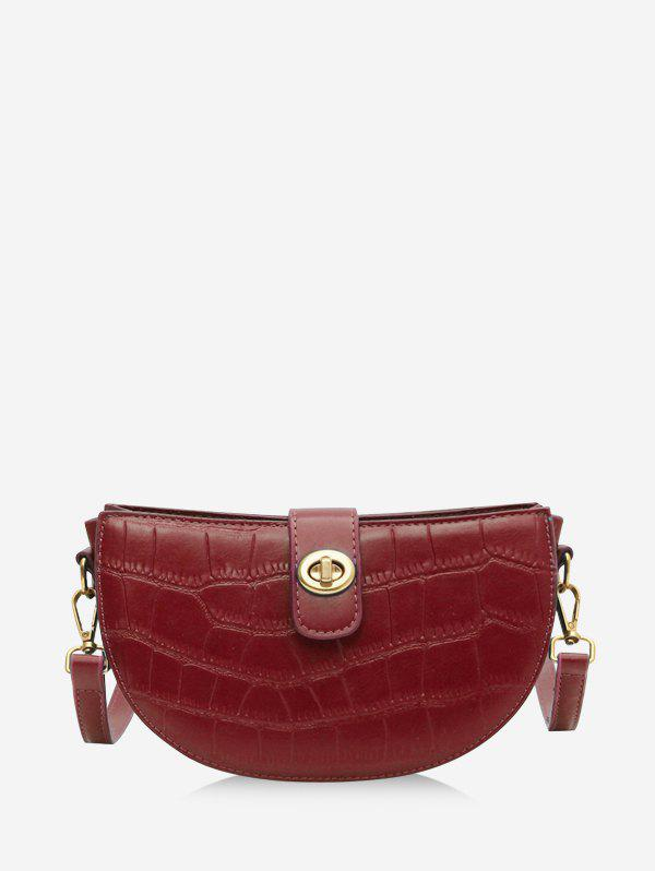 Retro Semicircle Textured Crossbody Bag - RED
