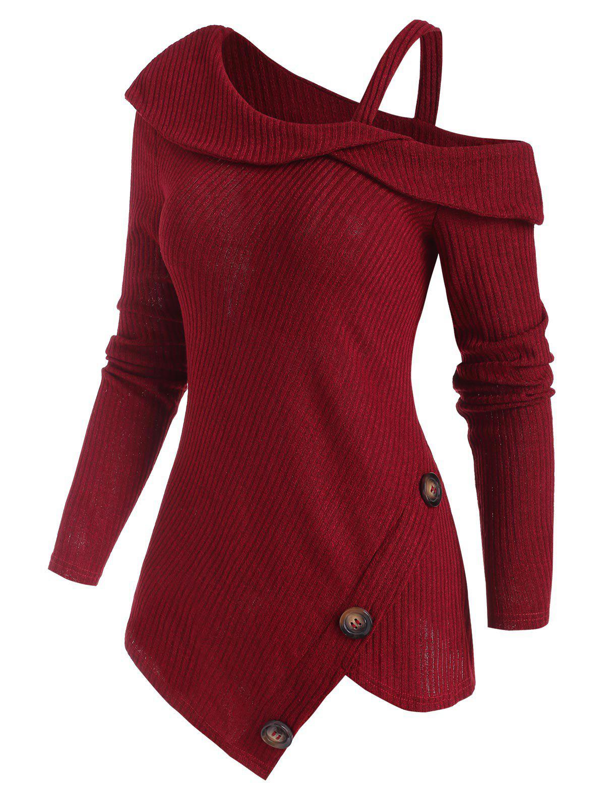 Ribbed Buttoned Cold Shoulder Asymmetrical Knitwear - DEEP RED XXL