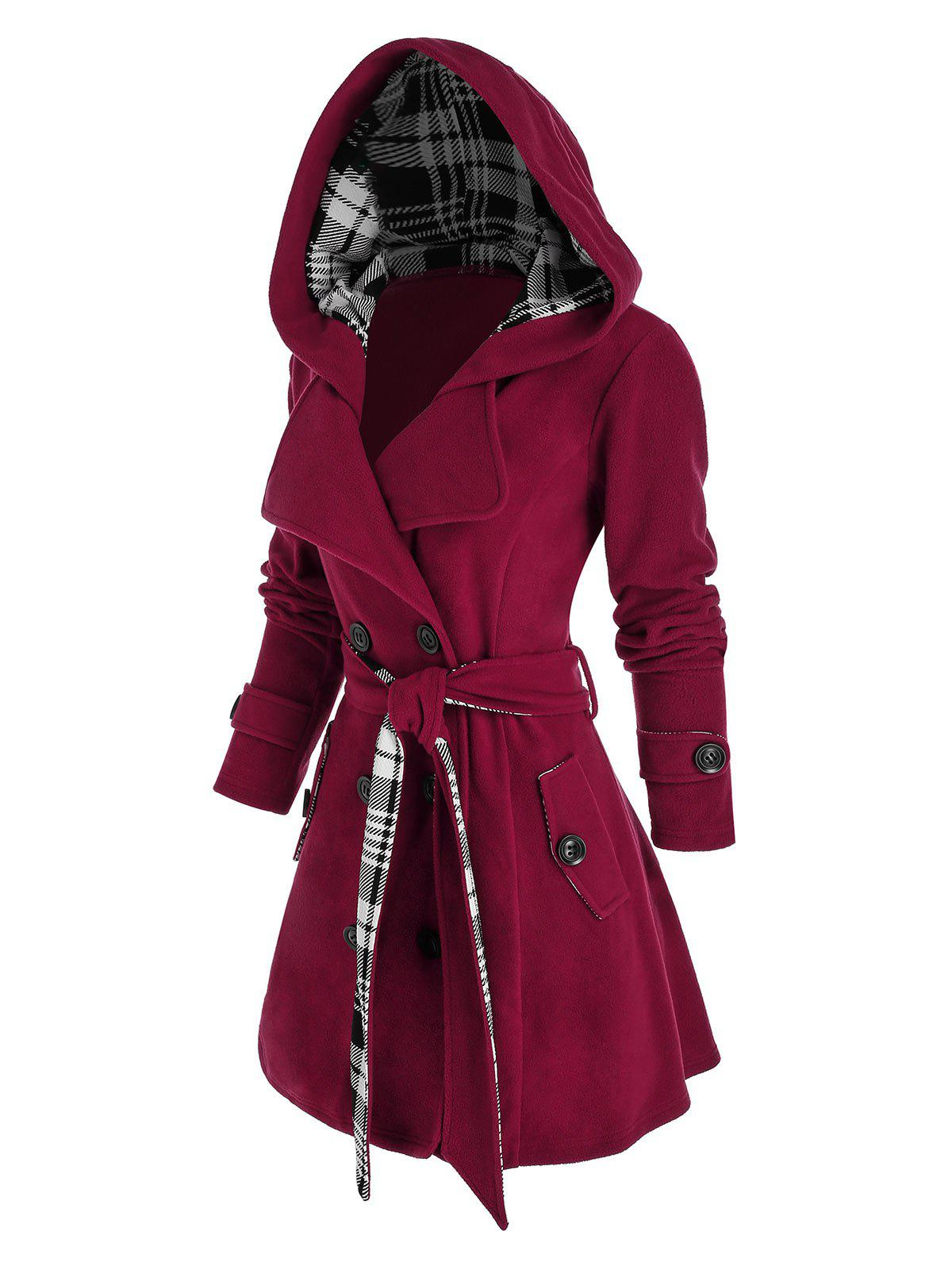 Plus Size Hooded Plaid Double Breasted Coat - RED WINE 3X