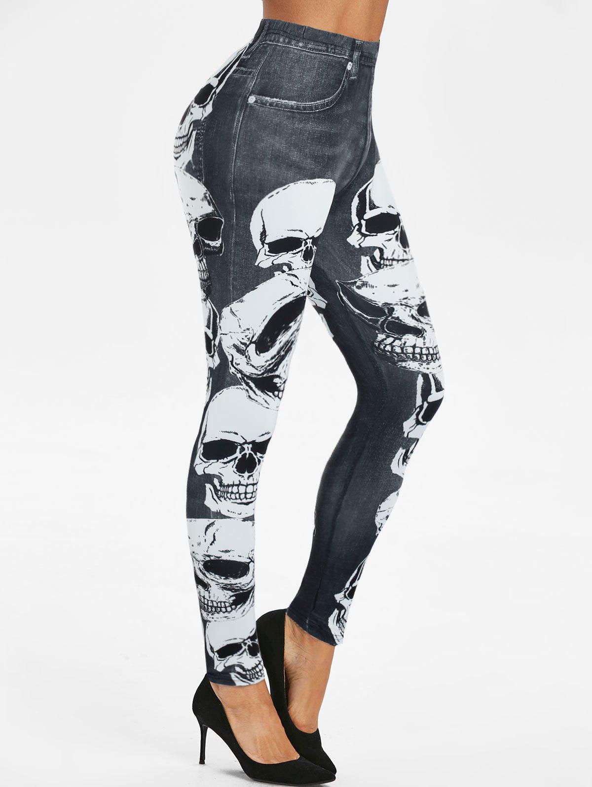 Halloween Skull Print Fitted Jeggings - multicolor L