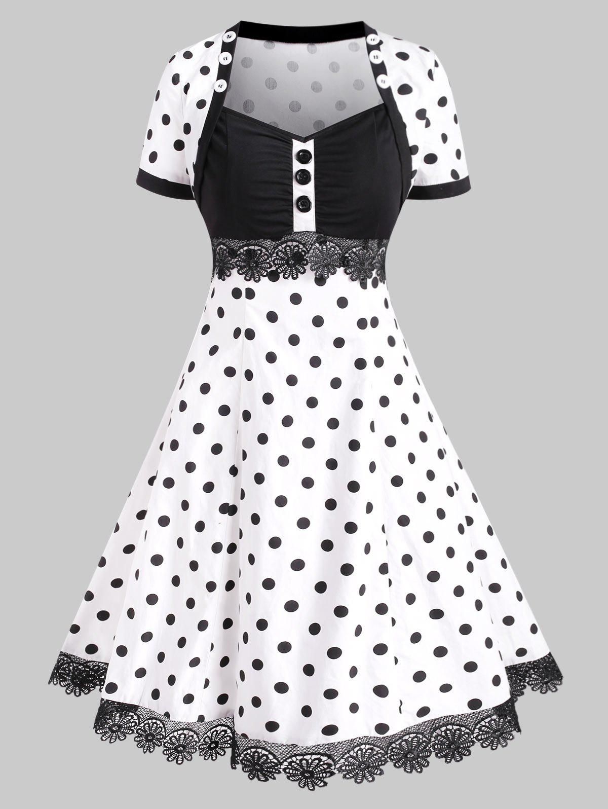 Buttoned Polka Dot Lace Trim Vintage Dress - WHITE XXXL