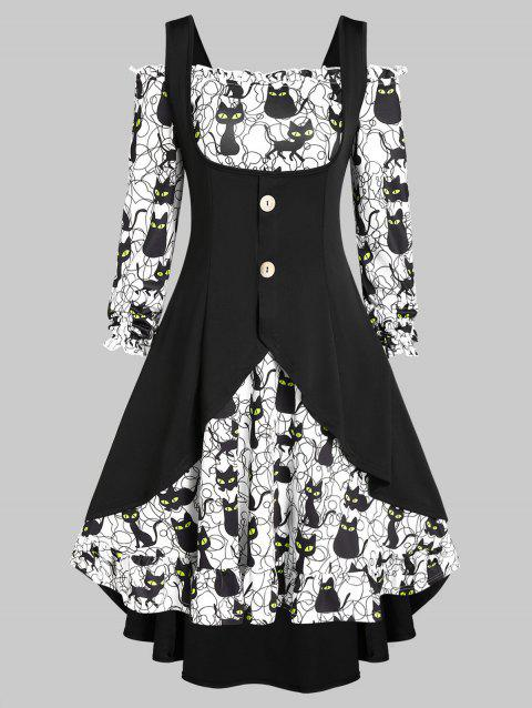 Halloween Off Shoulder Cat Print Dress and Buckles High Low Top Set