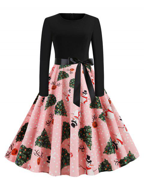 Belted Snowman Elk Dotted Christmas Tree Dress