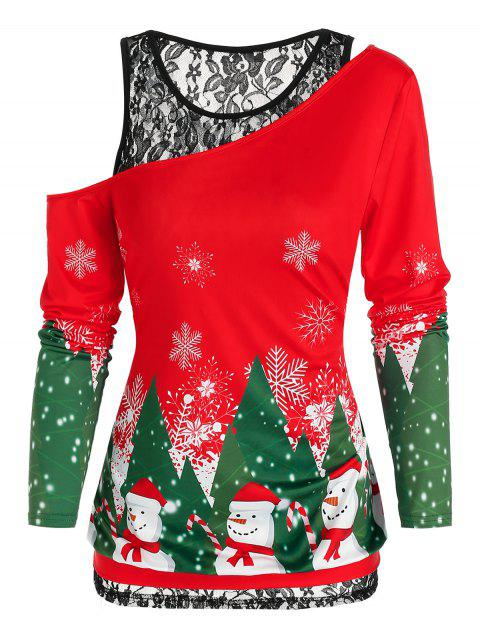 Skew Neck Christmas Printed Tee and Lace Tank Top Twinset