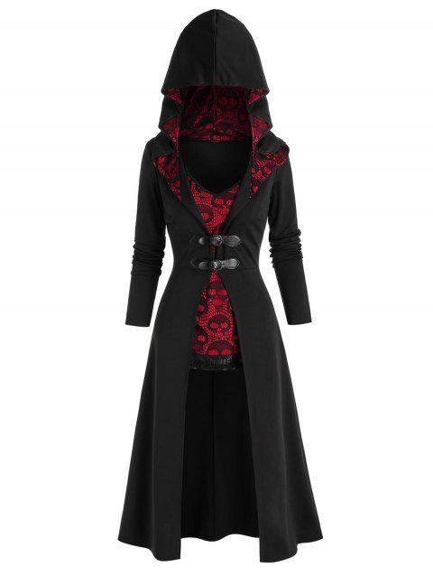 Halloween Buckles Hooded Long Coat and Skull Lace Tank Top Set