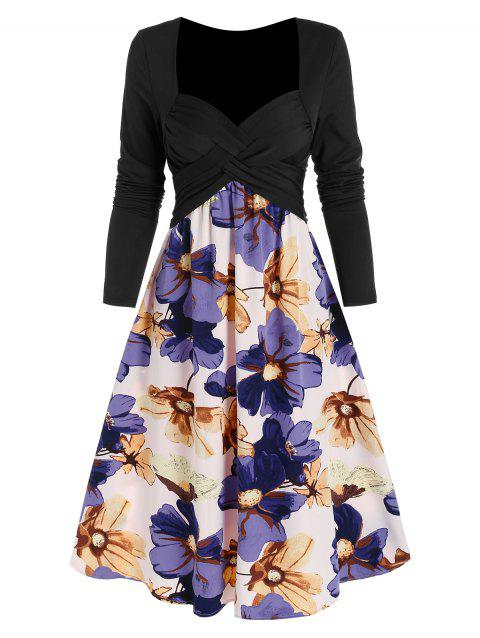 Criss Cross Ruched Flower Pattern Flare Dress