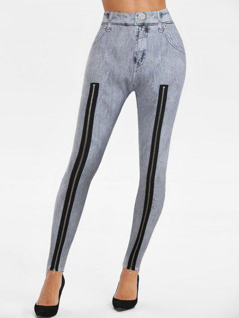 Zip Hem Faux Denim Skinny Leggings
