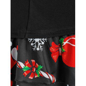 Plus Size Christmas Snowman Buttoned Layered Skirted Tee