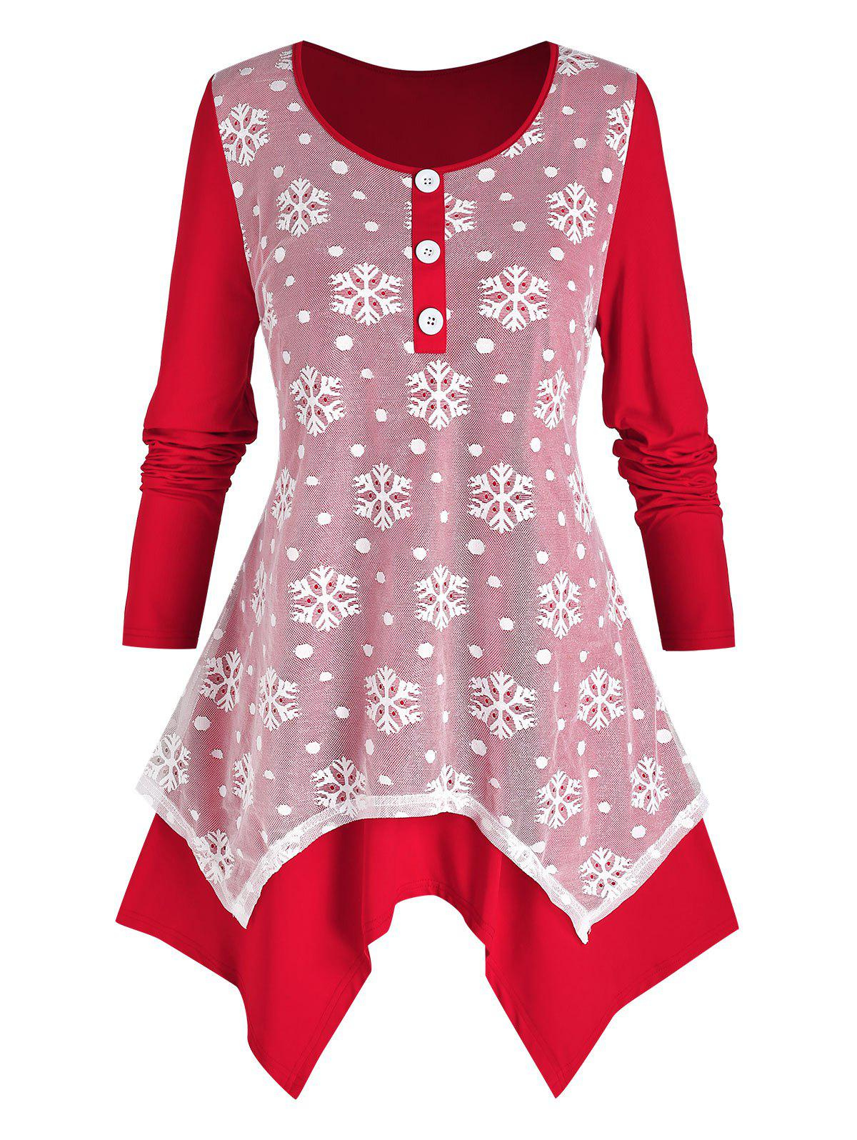 Plus Size Lace Snowflake Hanky Hem Tunic Christmas Tee - RED 5X