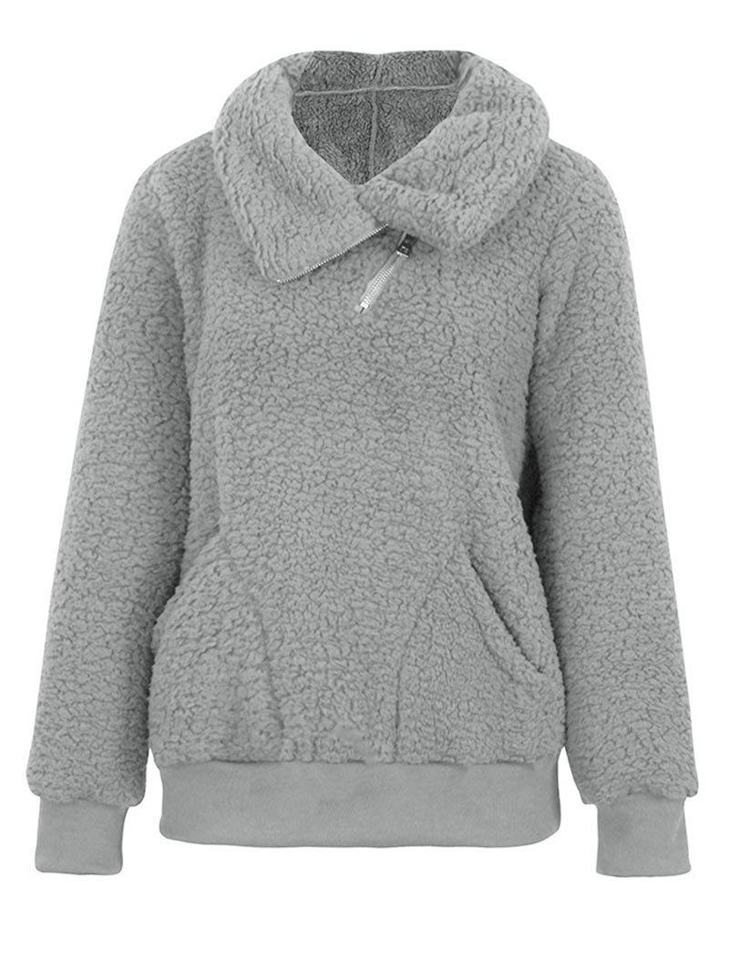 Plus Size Half Zipper Pockets Teddy Sweatshirt - LIGHT GRAY 2XL