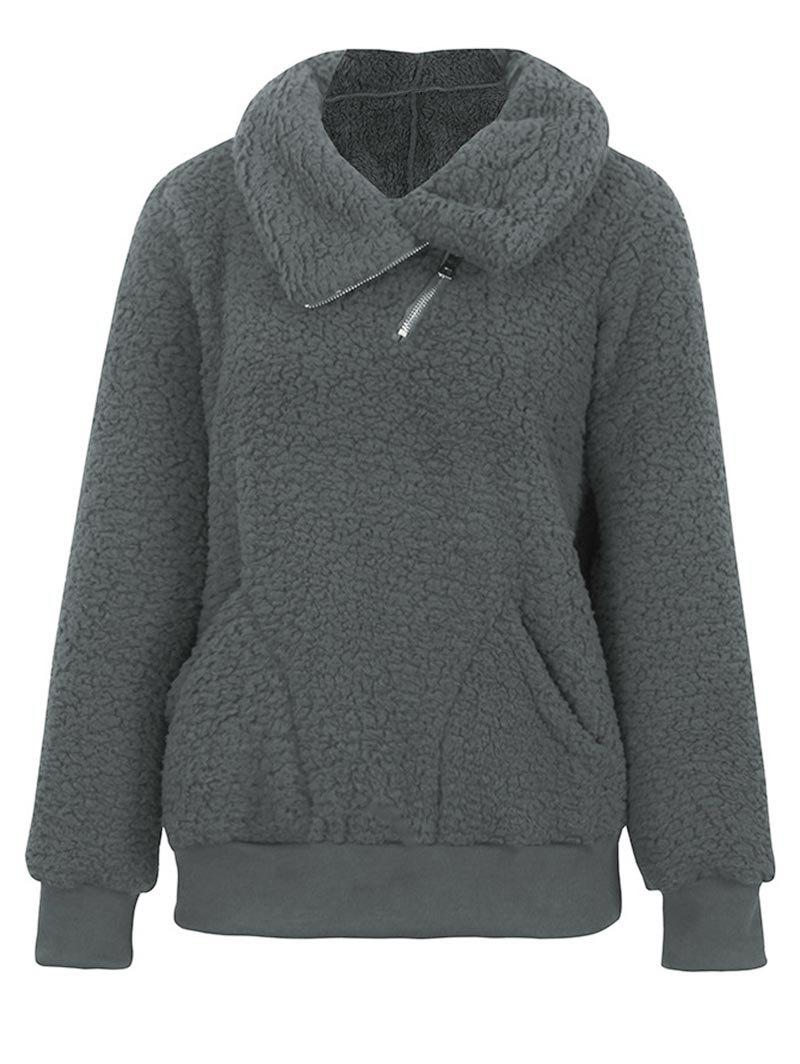 Plus Size Half Zipper Pockets Teddy Sweatshirt - GRAY XL
