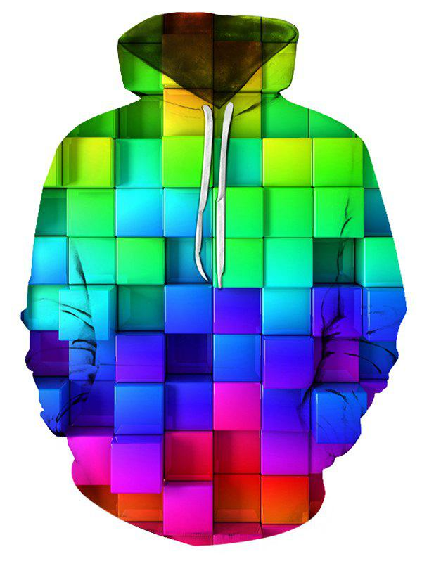 Sweat à Capuche 3D Blocs de Couleurs Imprimé avec Poche Kangourou - multicolor 2XL