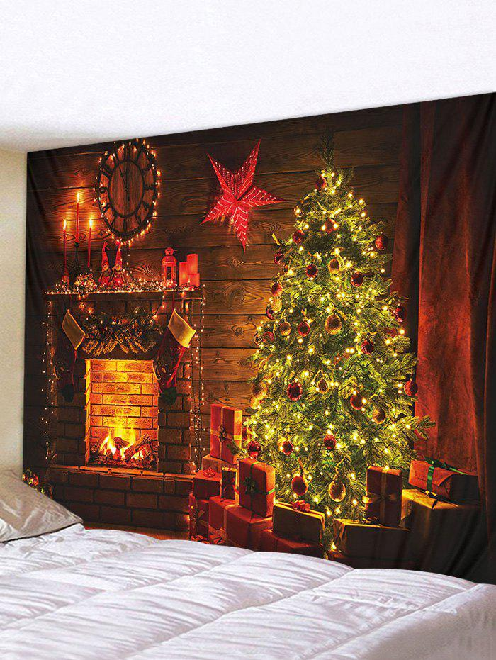Christmas Tree Fireplace 3D Print Waterproof Wall Tapestry - multicolor W91 X L71 INCH
