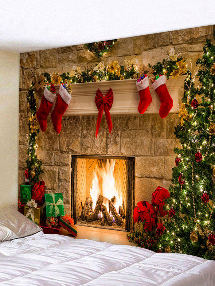Christmas Stockings Fireplace Print Wall Tapestry - LIGHT COFFEE W91 X L71 INCH